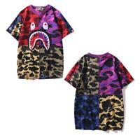 2019 Bape A Bathing Ape Tee Shark Head T-shirt Camo Mixed Color Loose Men's Tops
