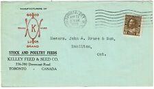 New ListingCanada 1923 Toronto cancel on cover Kelley Feed & Seed Co., shows wishbone