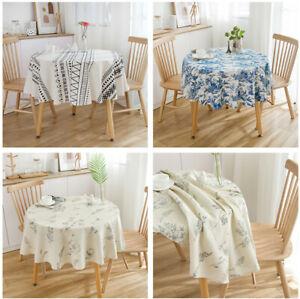 150CM Round Table Cloth Cotton Linen Tablecloth for Coffee Table Dining Table