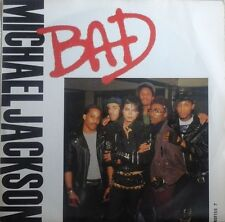 "MICHAEL JACKSON - BAD 7"" VINYL SINGLE WITH LYRICS CUTTING POP DANCE EX/EX"