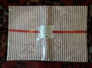 Paramount Red Striped Cotton Placemats - Set of 4, Scandinavian Chic Christmas