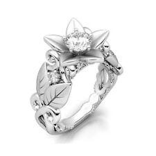 Elegant 925 Sterling Silver Wedding Engagement White Topaz Ring Size: 9