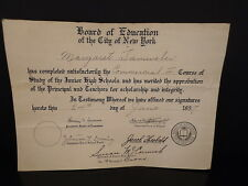 Vintage JUNIOR HIGH SCHOOL DIPLOMA 1937 NYC Board of Education JHS # 10 BRONX NY