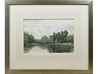 River Landscape - Early 20th Century British Watercolour Painting