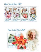 Pope Benedict XVI Flowers Religion Vatican Sao Tome and Principe MNH stamp set