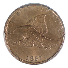 1857 Flying Eagle Cent PCGS MS62