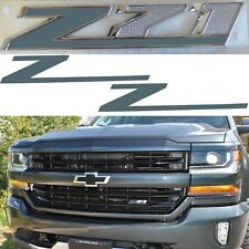 COLORMATCHED Graphite Metallic Z71 Grill Emblem Overlays For 2014-2018 Silverado