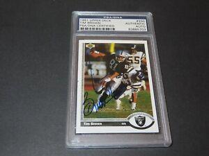 Tim Brown Signed 1991 Upper Deck Card #294 Auto Oakland Raiders PSA/DNA COA 1A