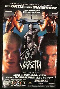 "Official UFC 40 Vendetta Autographed Tito Ortiz vs Ken Shamrock Poster 11""x17"""