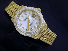 Lady Rolex Datejust 18K Yellow Gold President White MOP Diamond Dial 1ct Bezel