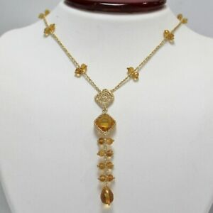 "Citrine 14K Yellow Gold Fancy Necklace & Earrings Set 18"" November Birthstone"