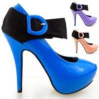 New Ladies Pink Patent Black Satin Strappy Platform Shoes Size 4/5/6/7/8/9/10