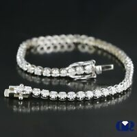 "1.53 Ct Natural Round Cut Diamond Tennis Bracelet In 14K White Gold 6 1/2"""