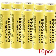 10 PC 3.7V 18650 9900mah Li-ion Rechargeable Battery For LED Flashlight Torch UL