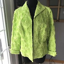 Samuel Dong Bright Lime Green Rolled Raised Rosette Zip Front Cotton Jacket L