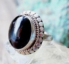 Mächtig Silberring 61 Sterndiopsid Schwarz Handarbeit Kuppel Silber Ring Orient