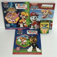 4 Piece Set Paw Patrol Sticker By Number, Jumbo Coloring Activity Books, Crayons