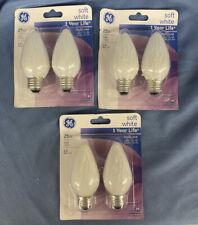 Lot Of 6 - 25 WATT SOFT WHITE LIGHT - Bulbs GE 75338  F Type -