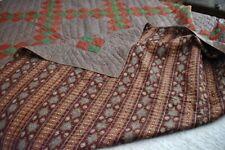 Antique Red Green Brown Irish Chain Hand Stitched Quilt *