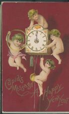 Cupids MESSAGE CLOCK HAPPY NEW YEAR cupids message pm 1907 buffalo ny (CU47)
