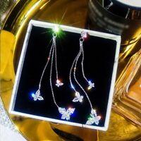 Fashion Crystal Animal Butterfly Zircon Long Tassel Earrings Drop Dangle Party