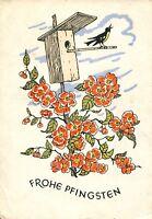 uralte AK, Frohe Pfingsten, blühender Baum mit Vogelhaus