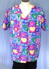 G.A.L.S. of California Multi-Color XL Scrub Top Colorful Hearts Cotton Blend