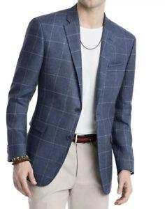 Tommy Hilfiger Mens Sport Coat Blue Size 46 LONG Windowpane Modern $295