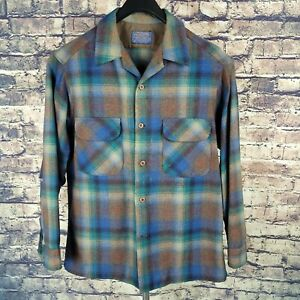 PENDLETON Mens Wool Plaid Flannel Button Down Board Shirt Sz Medium USA Made VTG
