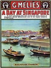 Viajes Turismo Melies Singapur Puerto Barco Cartel De Publicidad Vintage 2430PY