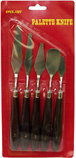 Wooden Handled Stainless Steel Painting & Palette Knife Assorted Set of 5