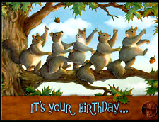 Adorable Squirrels Conga Line Tree Funny - Jeffrey Severn Birthday Card - NEW