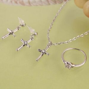 14K White Gold Filled Cross Necklace Earrings Ring Set Jewellery Gift-AUS SELLER