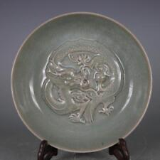 CHINESE OLD RU KILN OPEN-CRACKED DRAGON PATTERN PORCELAIN PLATE