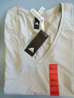 New Adidas Women's Athletic V Neck T Shirt Light Grey M