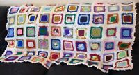 Vintage Afghan Handmade Granny Square Quilt Crochet BOHO Colorful Throw Blanket