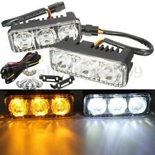 Pair 6 LED Car White DRL & Amber Turn Signal Daytime Driving Running Lights 12V