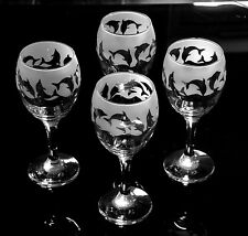 More details for dolphin gift wine glasses by glass in the forest..set of 4. ..boxed.