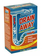 Duzzit Drain Away Blocked Sink Unblocker - 3 x 40 Powder Sachets