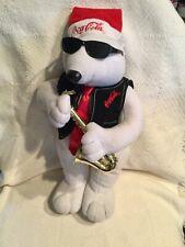 Vtg.Coca-Cola 1990's Christmas Dancing Animated Jazz Sax White Polar Bear VGUC
