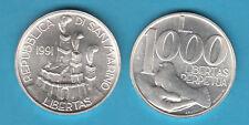 SAN MARINO 1991 LIRE 1000 ARGENTO FDC LIBERTAS SILVER
