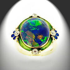 14K Yellow Gold Ring wit 3.70 ctw Black Opal and 4 Diamonds PGL Appraisal