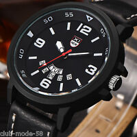 Montre Militaire Quartz Neuve Homme  Sport Cuir Date Men Watch Military PROMO