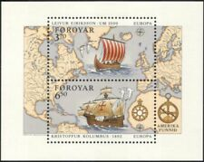 Faroes 1992 Europa/Columbus/Eriksson/Vikings/Boats/Sailing/Maps 2v m/s (n28157a)