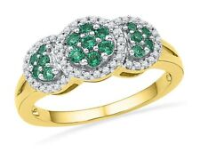 Fine Jewelry Womens Lab Created Emerald 10K Gold Cocktail Ring gGHmPmj3