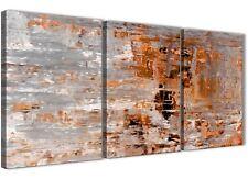 PANNELLO 3 Grigio Arancione Bruciato Pittura Tela Arte Ufficio-Astratto 3415 - 126cm