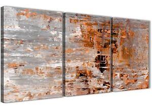 3 Panel Burnt Orange Grey Painting Office Canvas Art - Abstract 3415 - 126cm