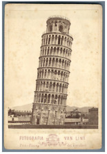 Van Lint, Italie, Pisa. Campanile del Duomo  Vintage albumen print, carte cabine