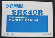1990 1991 YAMAHA SR540R 540 SNOWMOBILE OPERATORS OWNERS MANUAL NICE