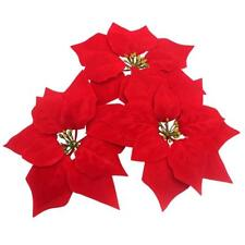 Artificial Flowers Red Poinsettia Xmas Tree Home door Vine Table Ornaments 8Inch